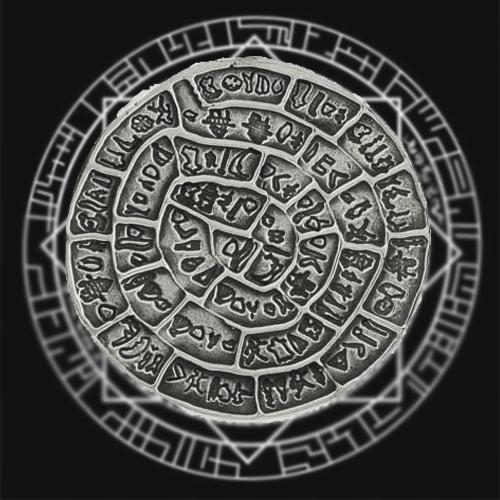 Фотография Фестского диска черно белая