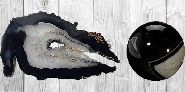 Фото черного агата в разрезе