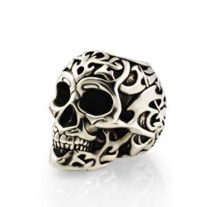 Серебряный шарм polynesian tribal skull