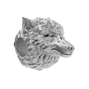 Серебряный шарм в виде головы волка.